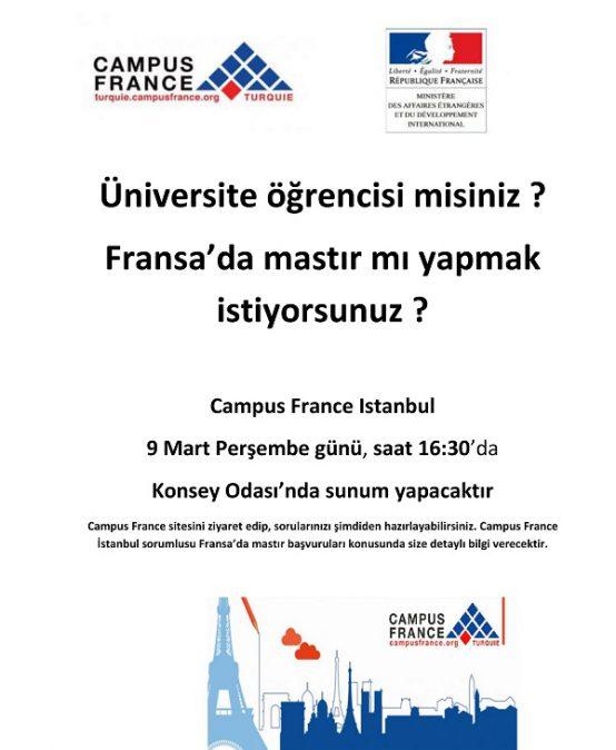 Fransa'da Yüksek Lisans Olanakları Semineri by Campus France